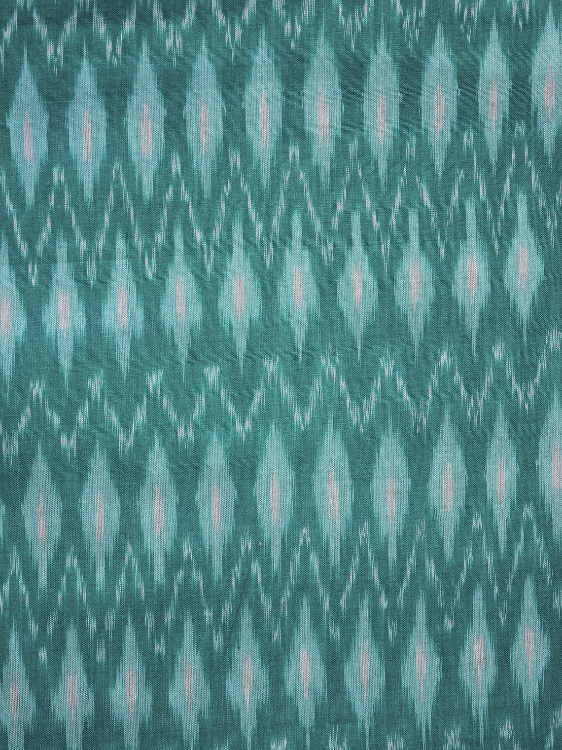 Teal Green Pochampally Hand Weaved Ikat Mercerised Fabric Per Meter - F003F1299