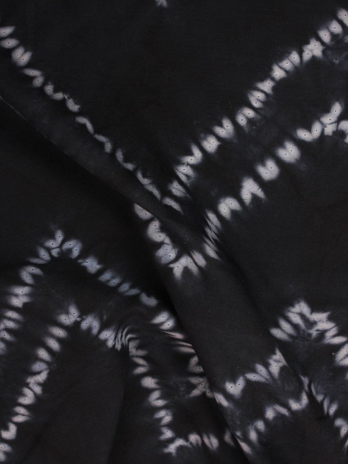 Black White Hand Shibori Dyed Cotton Fabric Per Meter - F0916285
