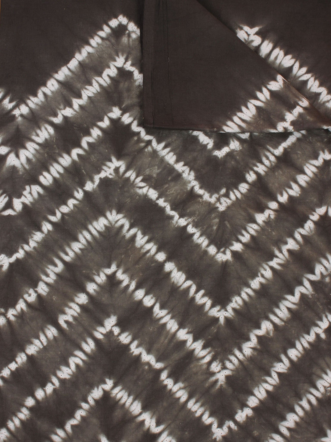 Black Ivory Hand Shibori Dyed Cotton Fabric Per Meter - F0916266