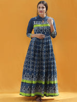 Naaz Rawza - Hand Block Printed Long Cotton Dress With Front Zip - DS82F002