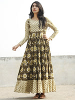 Olive Green Ivory Black Hand Blocked Cotton Long Tier Dress  - D135F1061