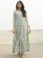 White Grey Blue Long Hand Block Cotton Dress With Front Opening  - D144F993