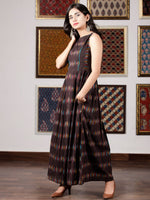 Black Turquoise White Yellow  Hand Woven Ikat Cotton Long Sleeveless Dress  - D267F1228