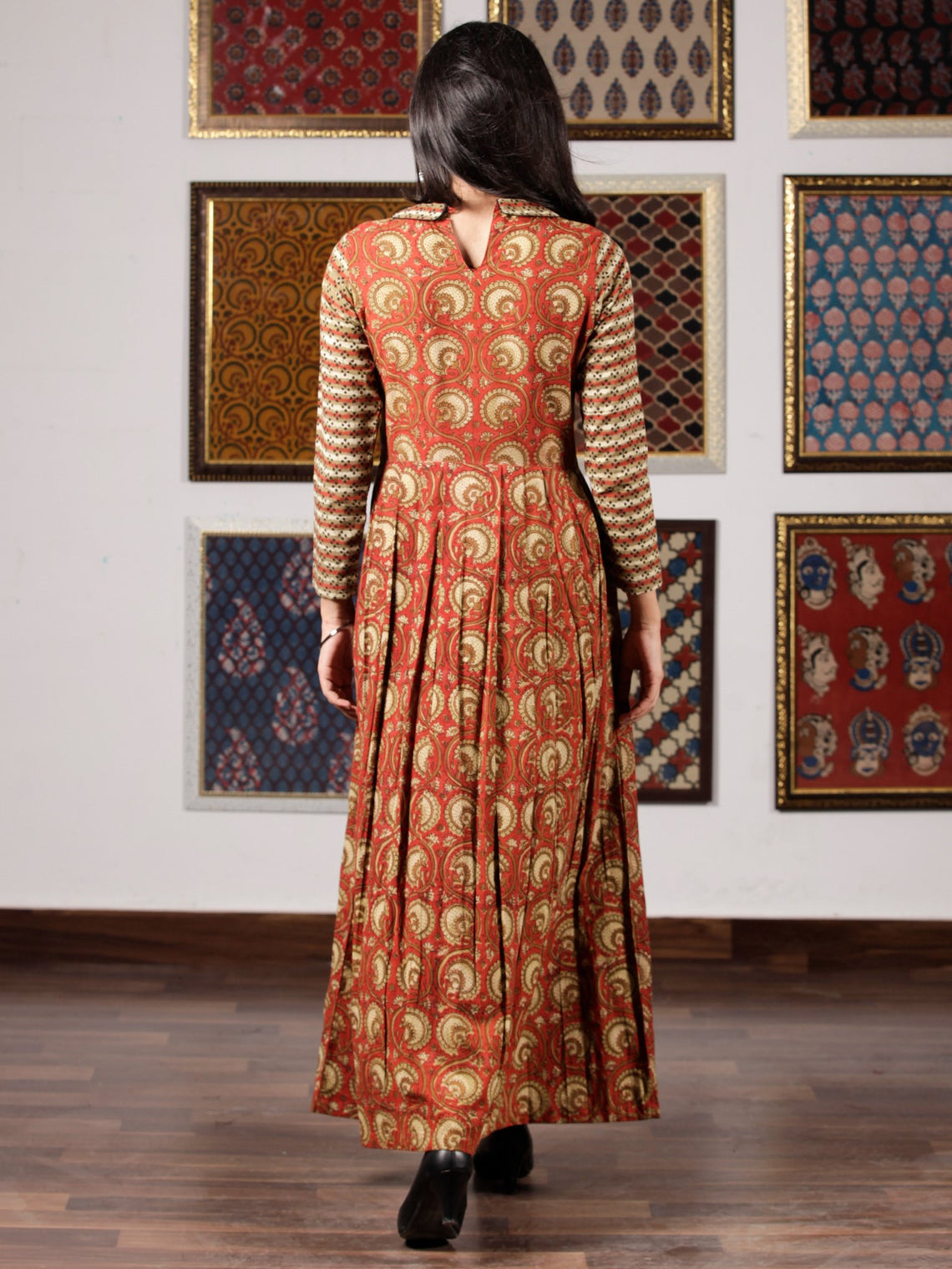 Red Olive Green Black Hand Block Printed Cotton Long Dress With Knife Pleats and side pockets - D258F992