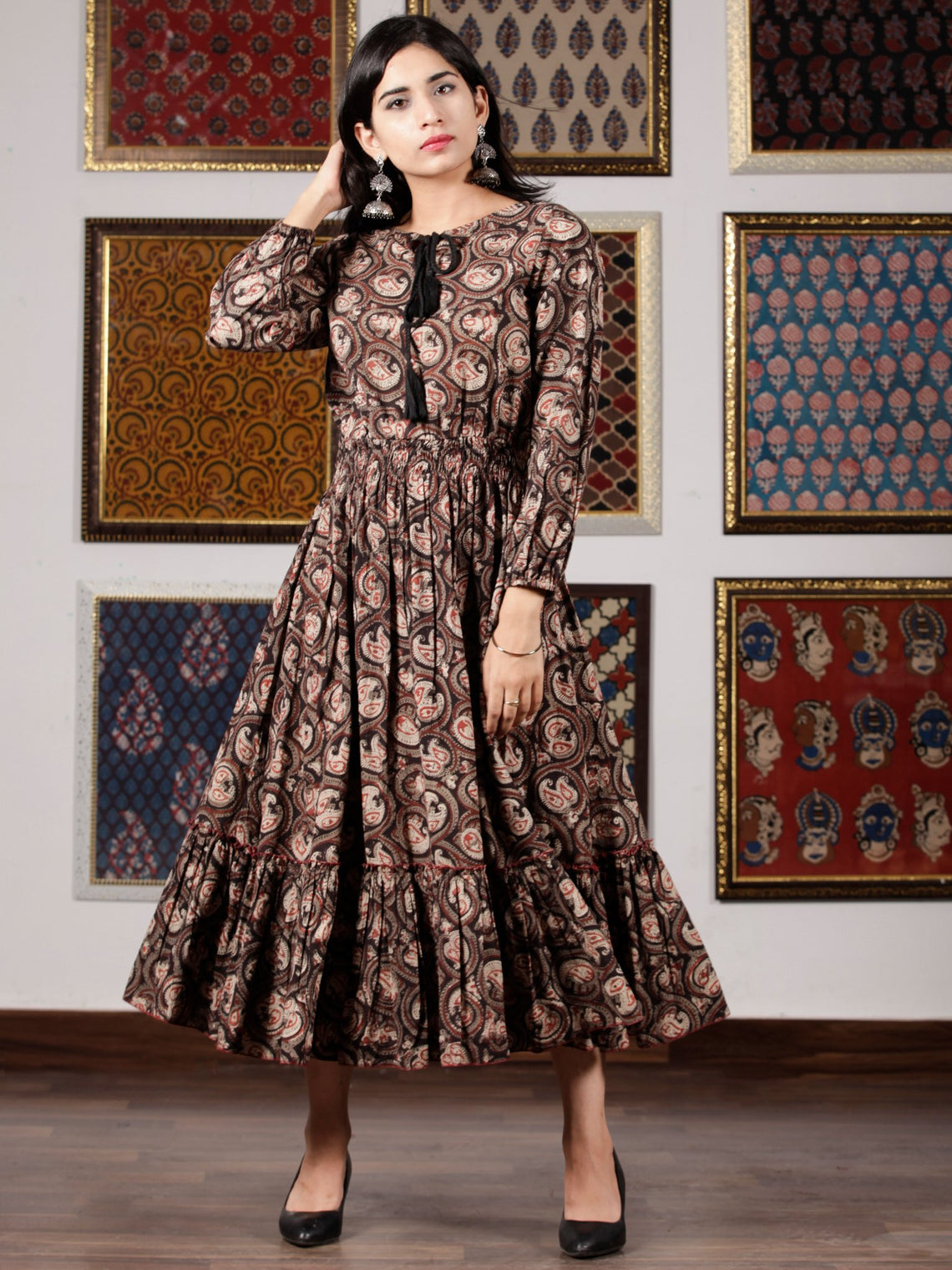 Black Brown Beige Hand Block Printed Cotton Dress With Tassels - D227F1329