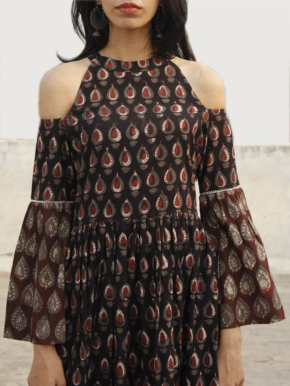Black Brown Maroon Ivory Long Hand Block Cotton Tier Dress With Cold Shoulder  - D146F983