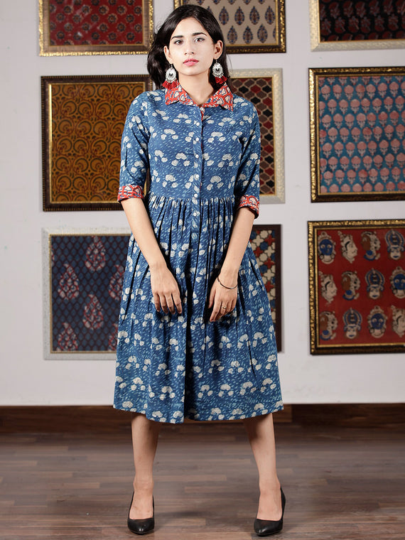 Indigo White Red Hand Block Printed Midi Cotton Dress With Shirt Collar - D251F1350