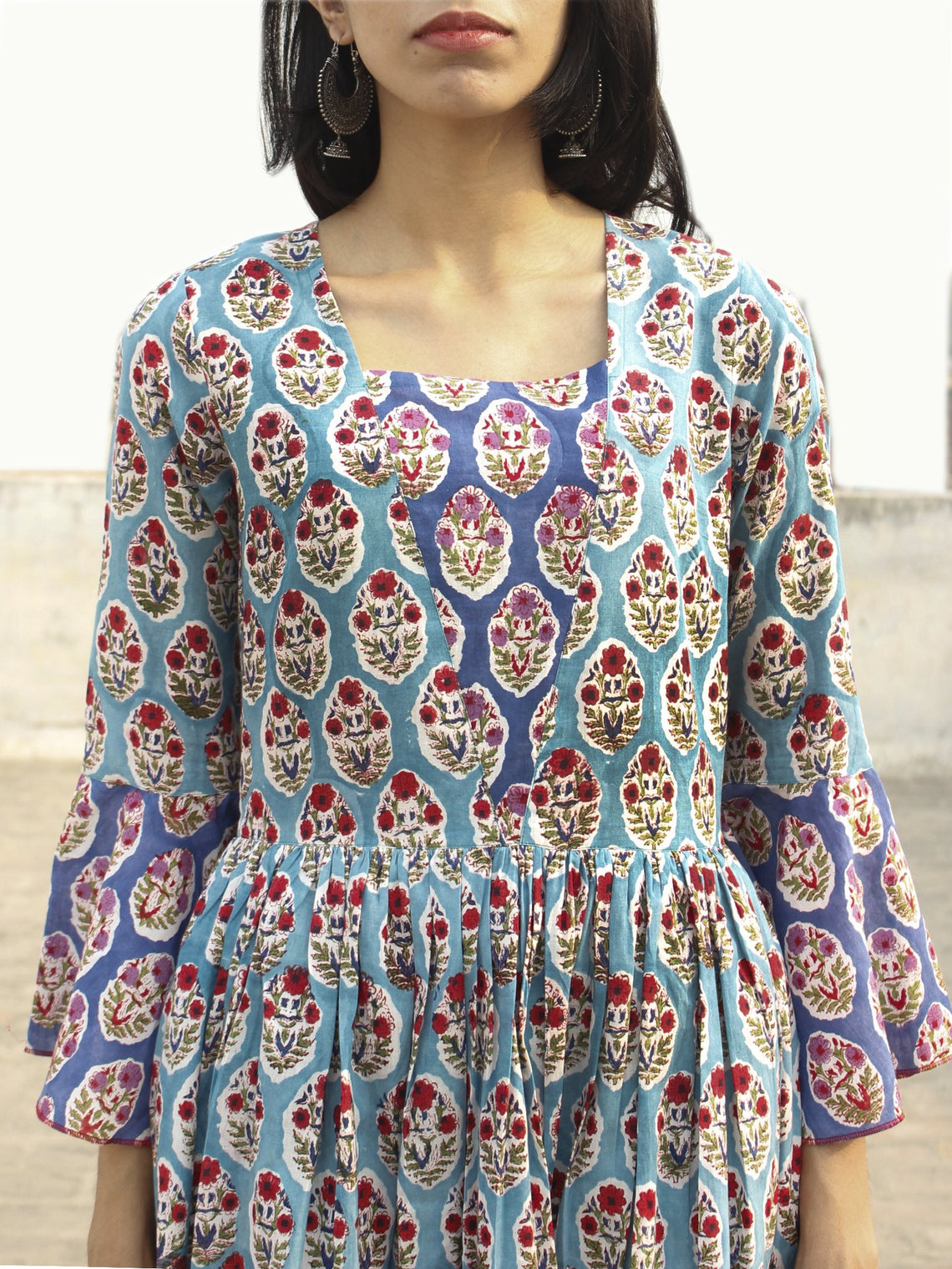Blue White Red Green Indigo Long Hand Block Cotton Layered Dress With Bell Sleeves  - D142F1072