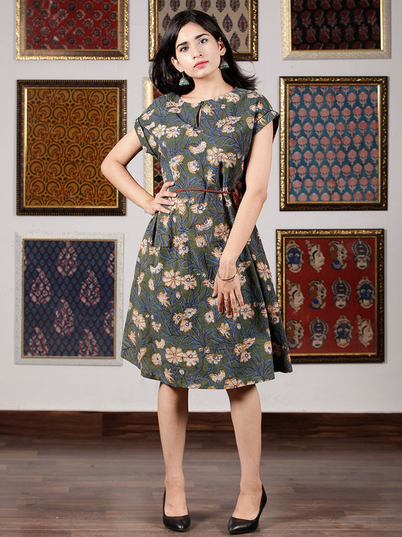 Sage Green Indigo Mustard Hand Block Printed Cotton Midi Dress - D245F1389
