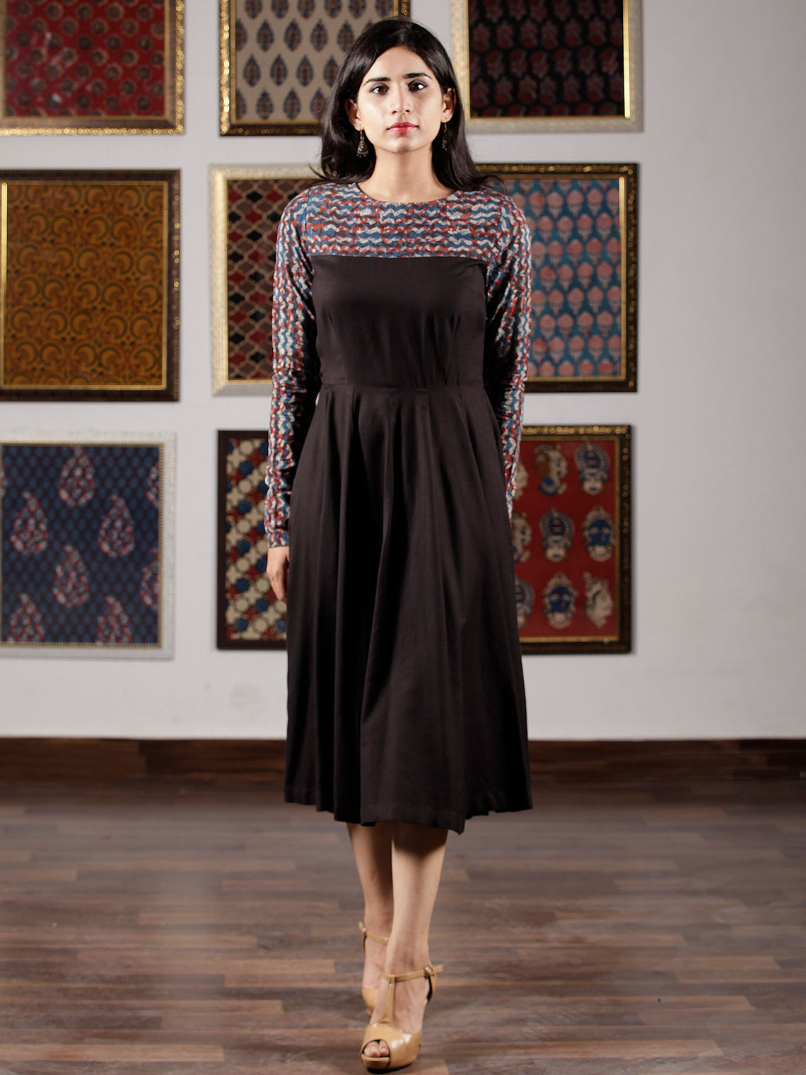 Indigo Black Rust Hand Block Printed Midi Dress - D260F1366