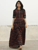 Black Maroon Grey Long Hand Block Cotton Dress With Knife Pleats & Lining - DS43F001
