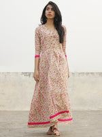 Ivory Pink Green Magenta Long Front Open Hand Block Cotton Dress With Lining   - D149F1099