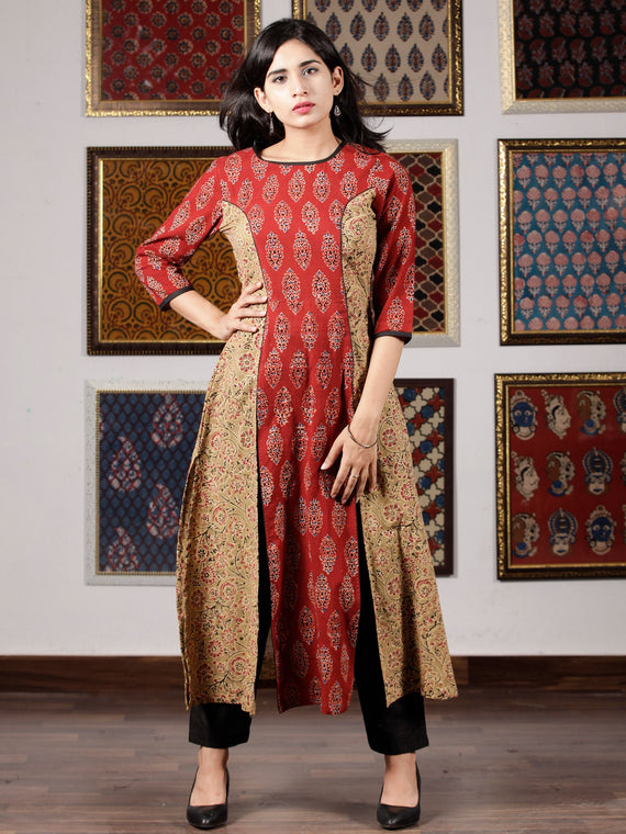 Red Peanut Brown Black Blue Ajrakh Hand Block Printed Kurta in Natural Colors - K59F1610