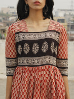Naaz - Red Ivory Black Long Hand Block Cotton Dress With Lining  - DS44F001