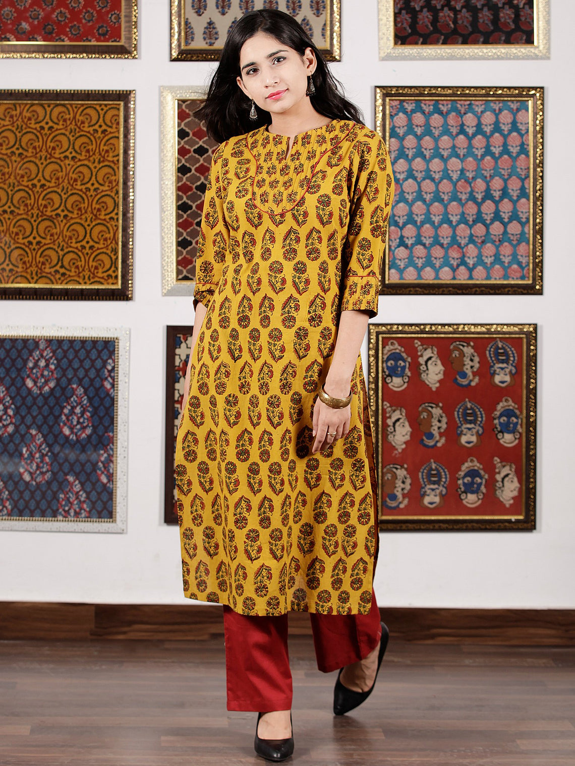 Mustard Red Green Black Ajrakh Hand Block Printed Kurta in Natural Colors - K106F1602