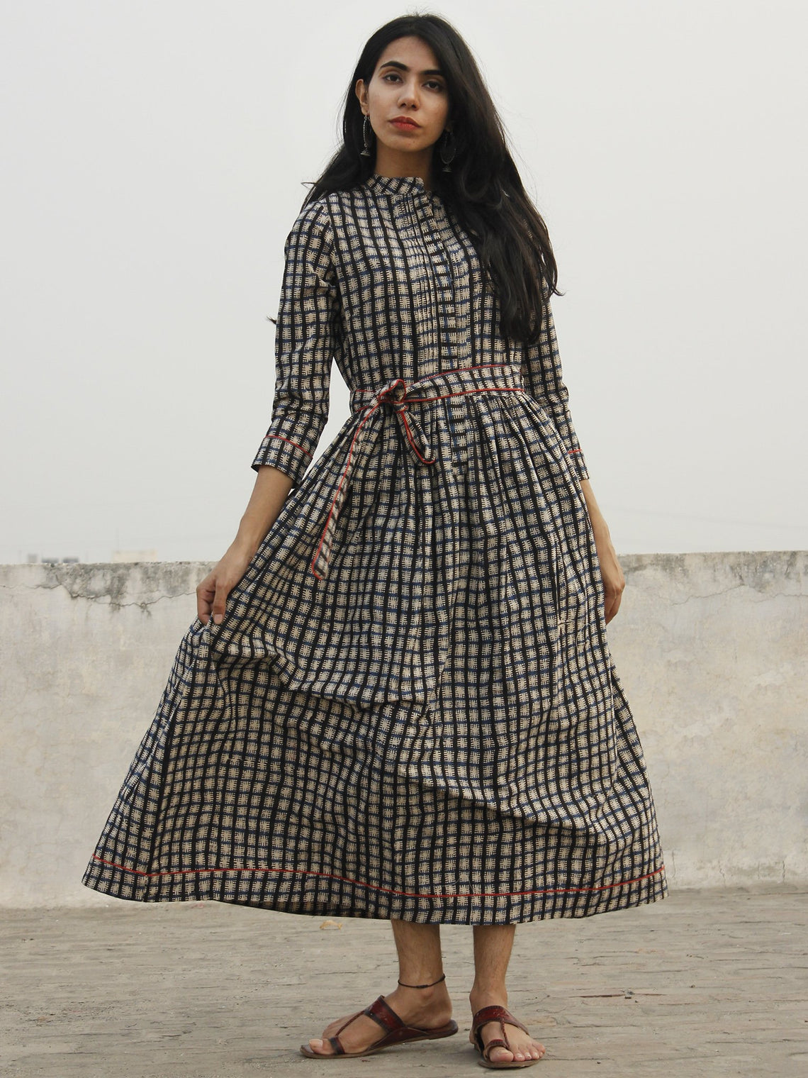 Indigo Ivory Black Long Hand Block Cotton Dress With Stand Collar   - D152F1082
