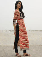 Red Beige Black Hand Block Printed Kurta - K29F001