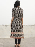 Black Beige Red Hand Block Printed Kurta With Stand Collar - K28F001