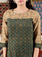 Green Beige Peanut Brown Black Ajrakh Hand Block Printed Kurta in Natural Colors - K107F1586