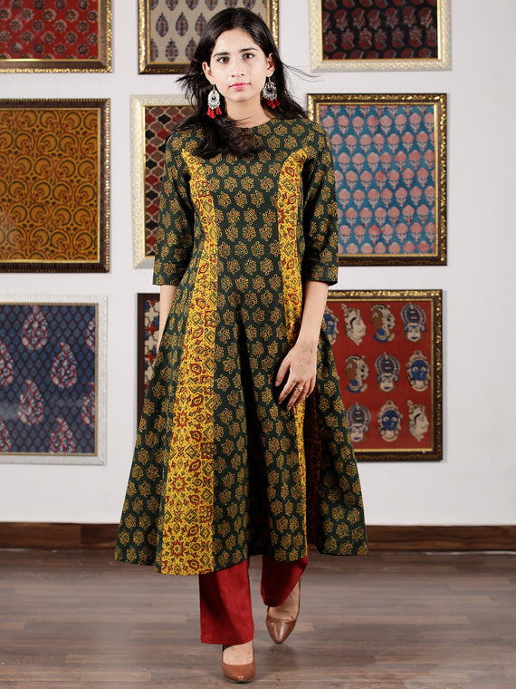Green Yellow Maroon Black Ajrakh Hand Block Printed Kurta in Natural Colors - K108F1598