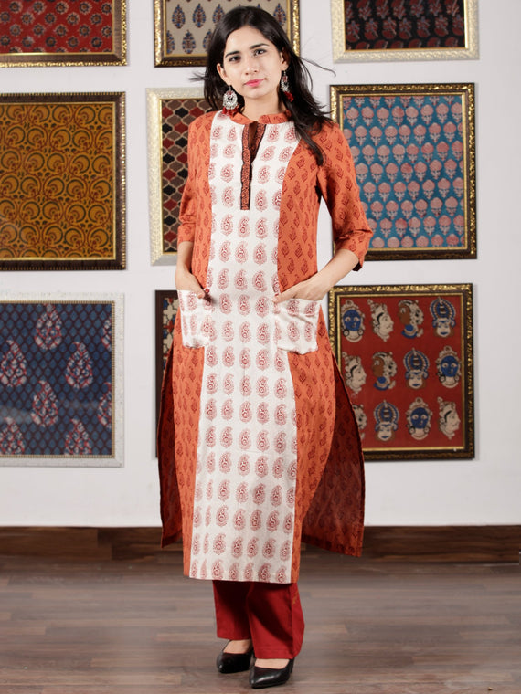 Dark Peach Ivory Maroon Bagh Printed Kurta in Natural Colors - K110F1708