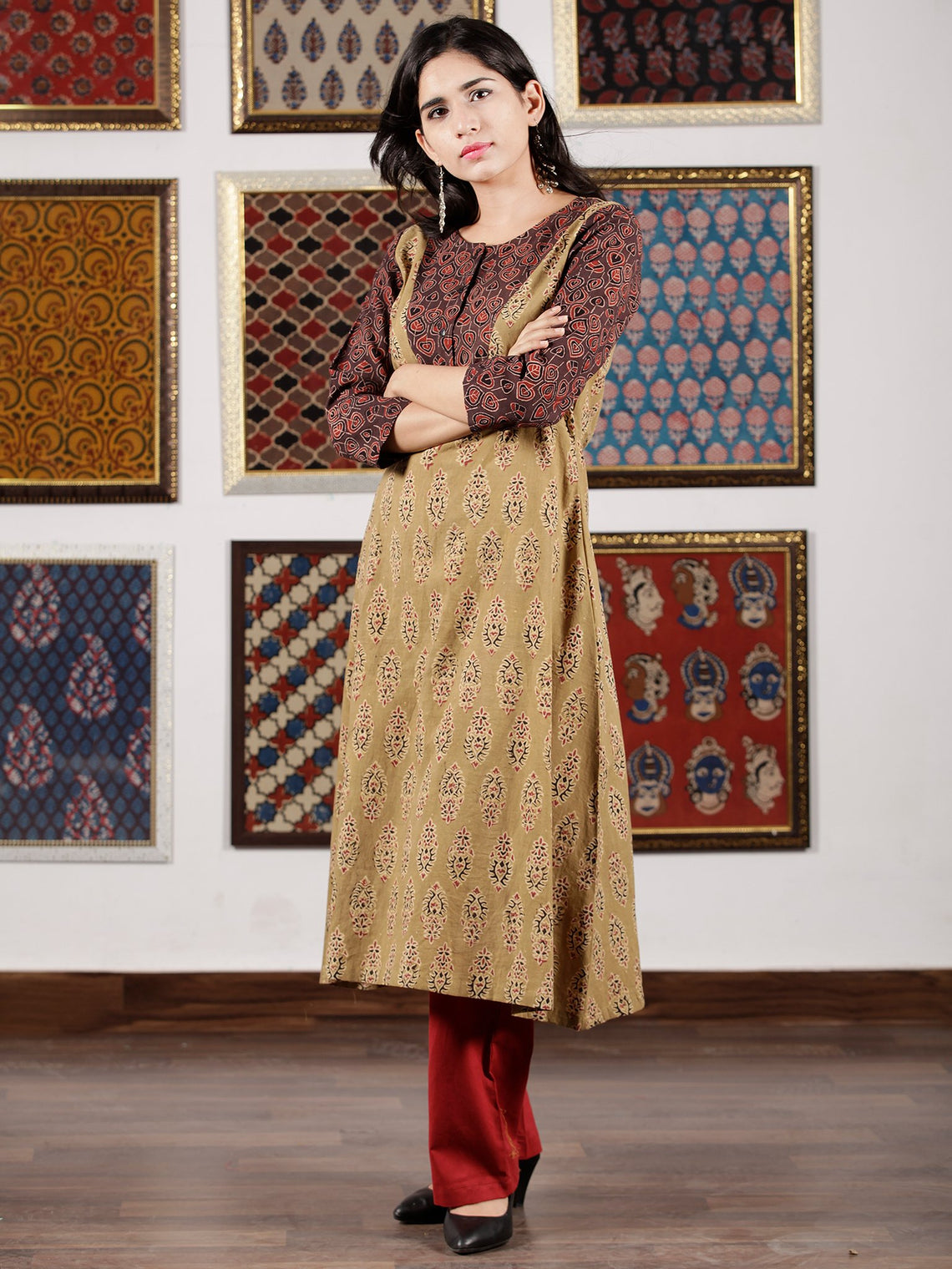 Brown Maroon Black Ajrakh Hand Block Printed Kurta in Natural Colors - K111F1609