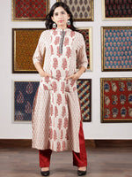 Ivory Maroon Black Bagh Printed Kurta in Natural Colors - K110F1703