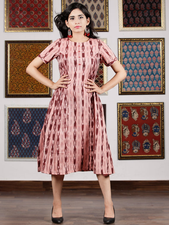 Pink Maroon Handwoven Ikat Dress With Princess Cut & Knife Pleates-  D278F1450