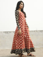 Red Black Ivory Sea Green Long Hand Block Cotton Dress With Frill  - D06F1070