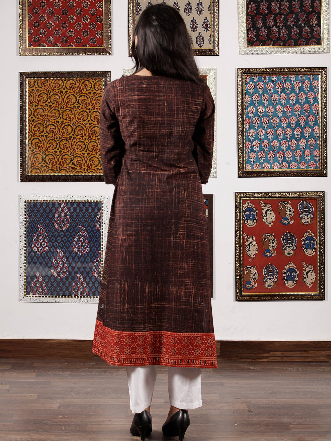 Brown Maroon Beige Black Ajrakh Hand Block Printed Kurta in Natural Colors - K113F1507