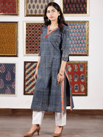Indigo Ivory Red Ajrakh Hand Brushed & Hand Block Printed Kurta in Natural Colors - K117F1510