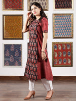 Black Maroon Ivory Ajrakh Hand Block Printed Kurta in Natural Colors - K118F1665