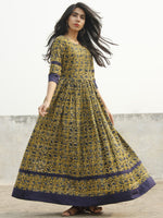 Mustard Yellow Indigo Green Ivory Long Hand Block Cotton Dress With Back Details  - D137F994
