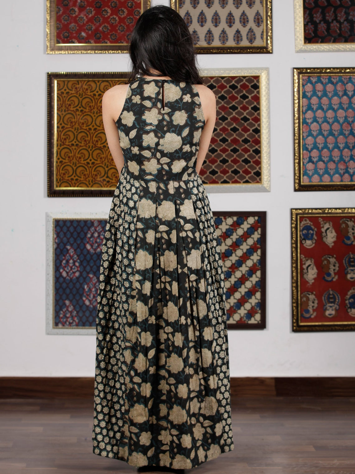 Indigo Black Beige Hand Block Printed Cotton Long Dress  - D256F1360