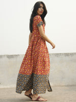 Red Black Yellow Indigo Pink Ivory Long Hand Block Cotton Dress With Stand Collar  - D138F995