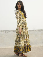 Taraab - Long Hand Block Cotton Tier Dress  - D139F1060