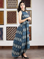 Indigo Blue White Hand Block Printed Cotton Asymmetric Dress With Shirt Collar - D263F772