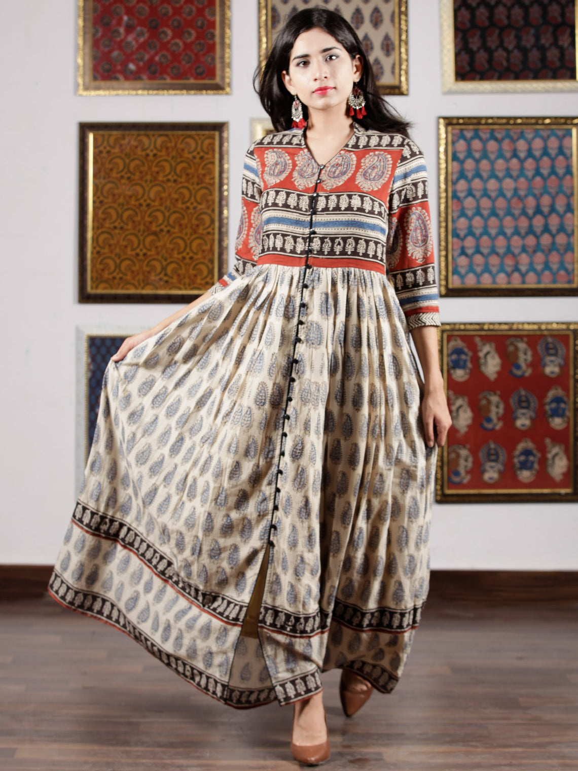 Naaz - Beige Red Black Blue Hand Block Printed Long Dress With Front Detailing -  DS49F001