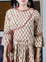 Beige Maroon Mustard Hand Block Printed Long Cotton Dress With Angrakha Neck And Ruffle Sleeves  - D240F1393