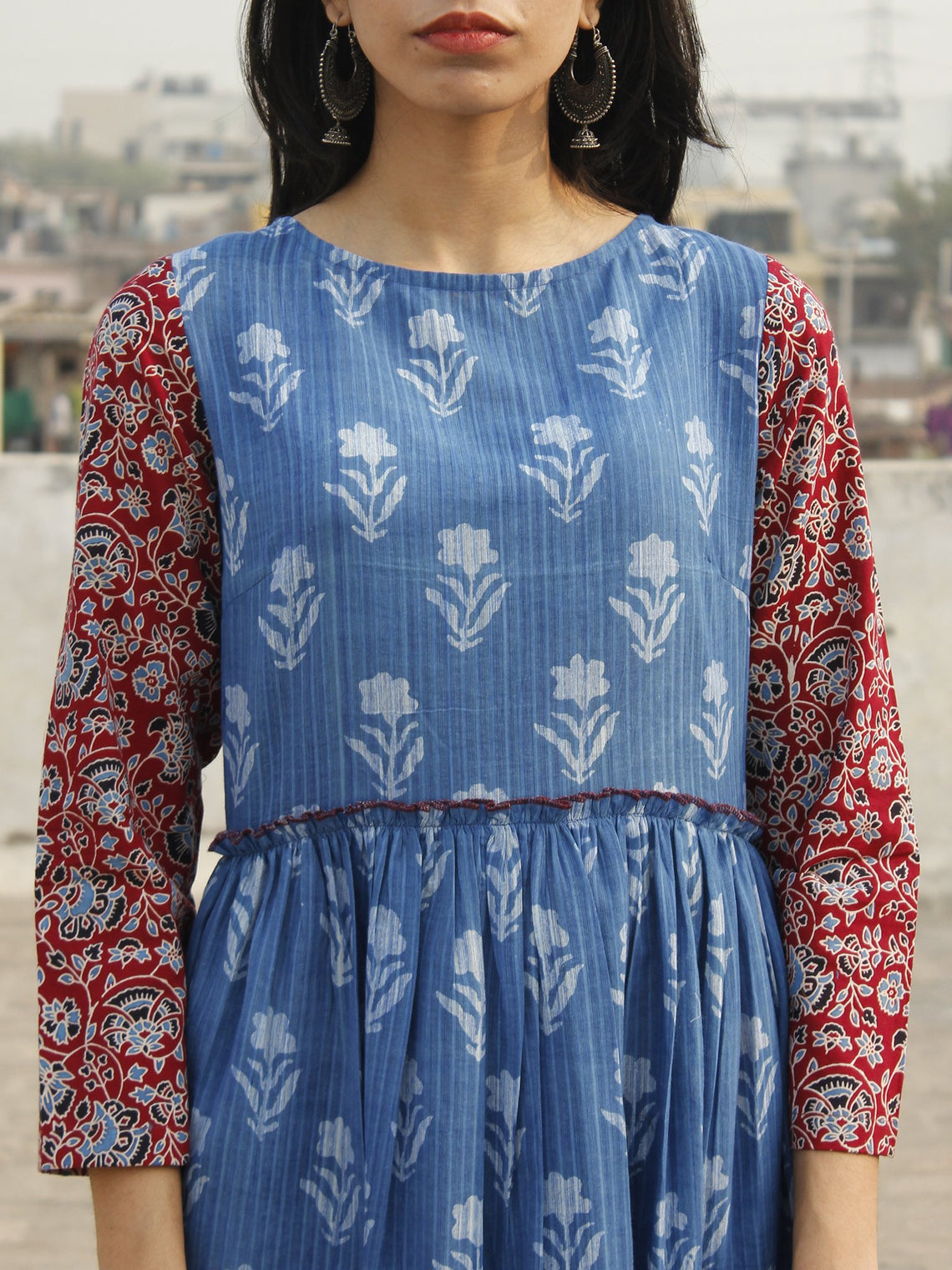 Indigo White Maroon Long Hand Block Printed Cotton Dress With Gathers  - D143F905