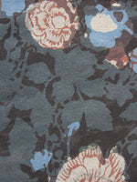 Grey Ivory Blue Hand Block Printed Cotton Fabric Per Meter - F001F885