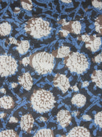 Indigo Black Ivory Kashish Hand Block Printed Cotton Fabric Per Meter - F001F886