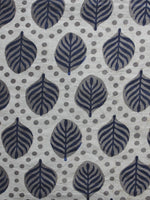 Kashish Ivory Indigo Hand Block Printed Cotton Fabric Per Meter - F001F872