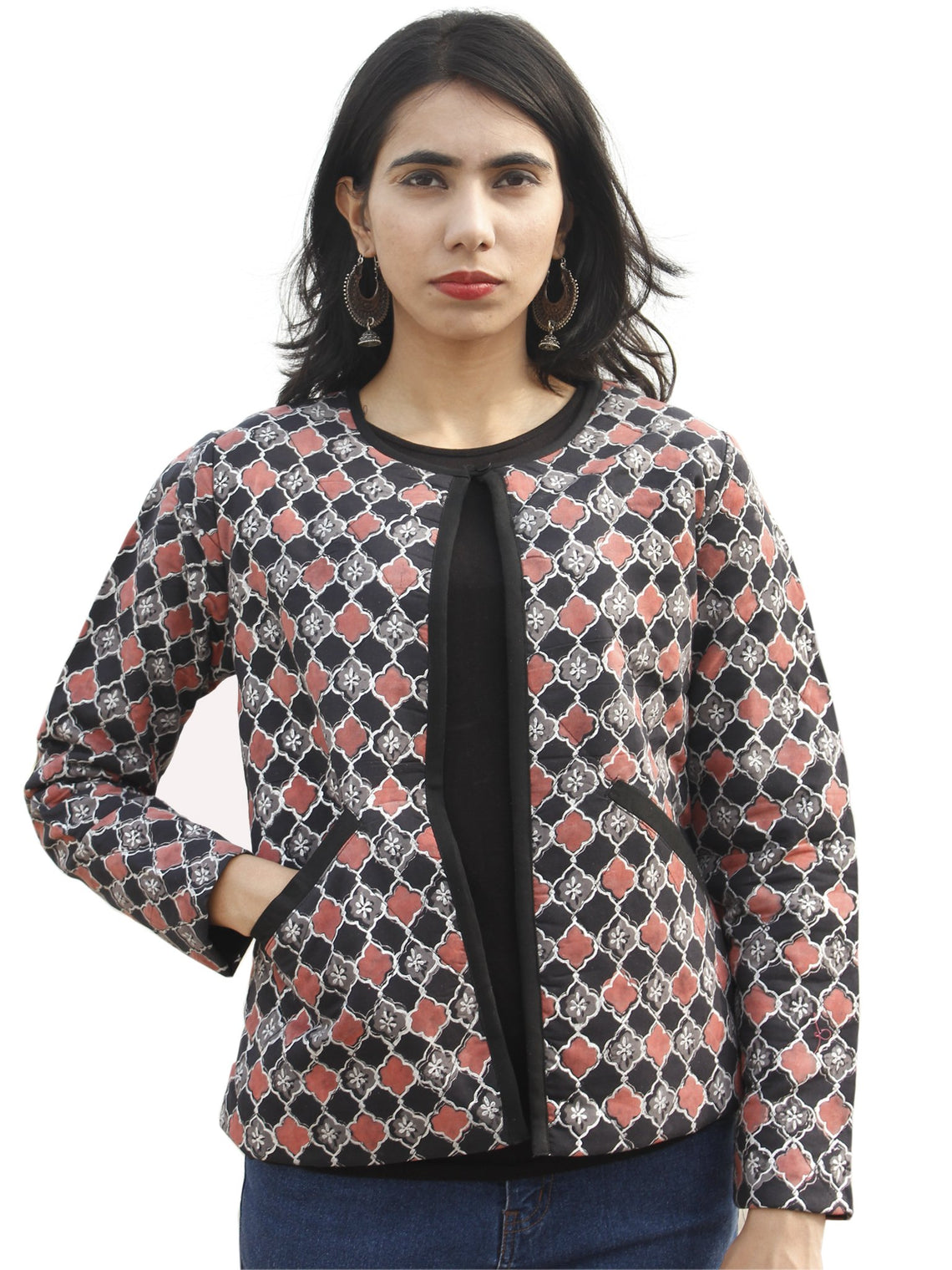 Black Grey Dusty Pink Silver Hand Block Printed Quilted Jacket - J03F897