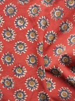 Red Blue Mustard Ivory Hand Block Printed Cotton Fabric Per Meter - F001F891