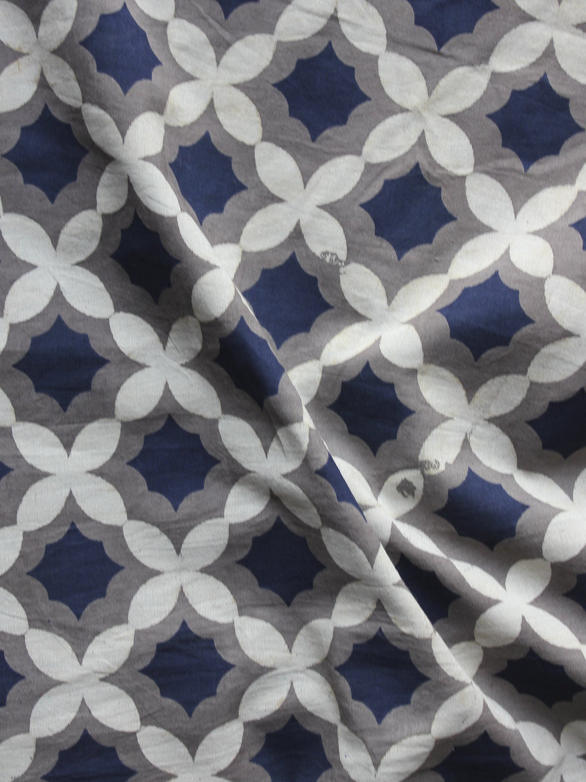Kashish Ivory Indigo Hand Block Printed Cotton Fabric Per Meter - F001F875