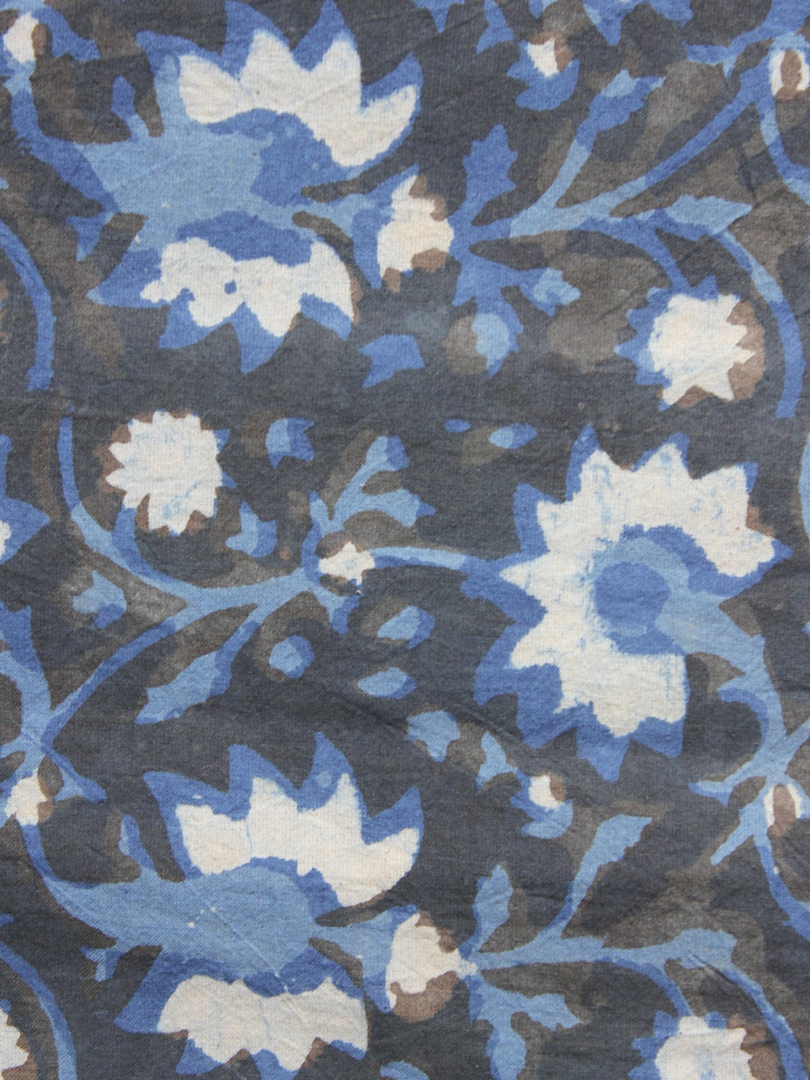 Indigo Ivory Grey Hand Block Printed Cotton Fabric Per Meter - F001F877