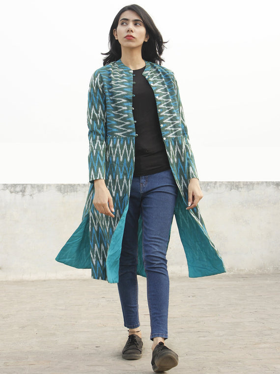 Teal Green Blue  Ivory Hand Woven Ikat Long Jacket With Stand Collar - J06F952
