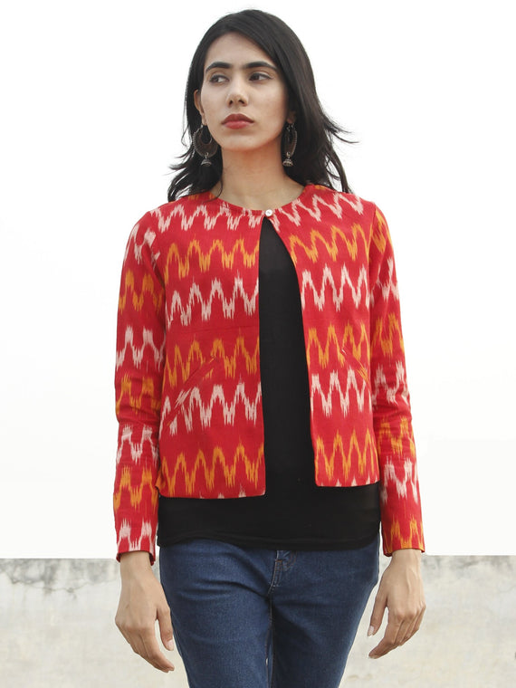 Red Yellow Ivory Hand Woven Ikat Crop Jacket With Front Pockets - J05F961