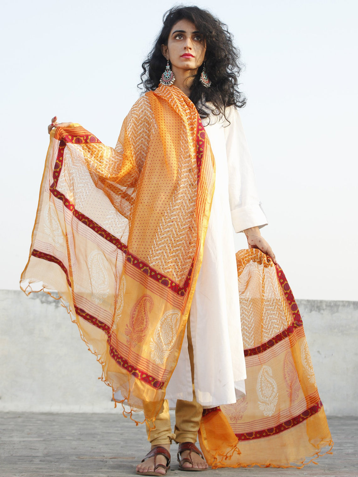Orange Ivory Kota Silk Hand Black Printed Dupatta With Ajrakh Printed Stitched Border  - D04170127